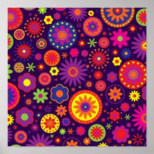 Flores roxas do arco-íris do Hippie Posteres