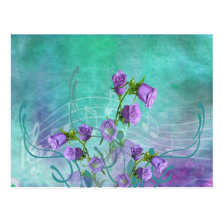 Flores roxas e notas musicais cartões postais
