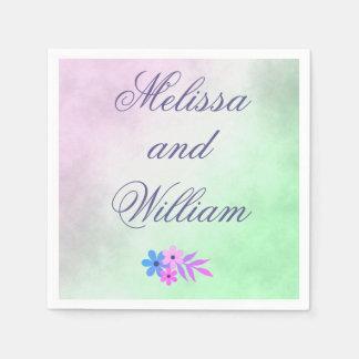 Flores roxas e pergaminho verde do casamento guardanapo de papel