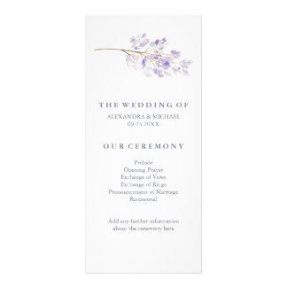 Flores roxas e programa do casamento do ramo 10.16 x 22.86cm panfleto