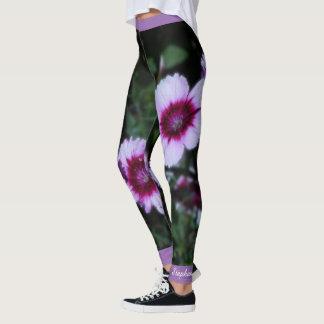 Flores roxas, nome personalizado leggings