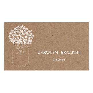 Flores rústicas do frasco de pedreiro do papel de cartão de visita