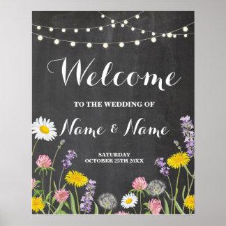 Flores selvagens do poster bem-vindo que Wedding o