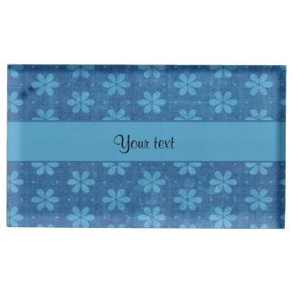 Flores sujas azuis suporte para cartoes de mesa
