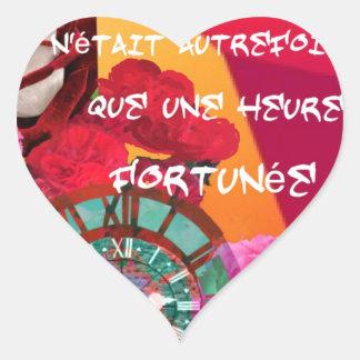 Flores, tempo e mensagem da felicidade adesivo coração