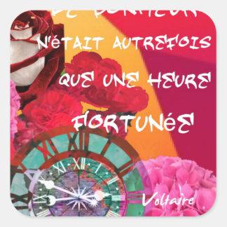 Flores, tempo e mensagem da felicidade adesivo quadrado