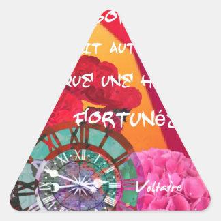 Flores, tempo e mensagem da felicidade adesivo triangular