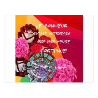 Flores, tempo e mensagem da felicidade cartão postal