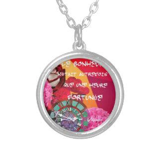 Flores, tempo e mensagem da felicidade colar banhado a prata