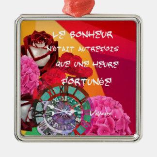 Flores, tempo e mensagem da felicidade ornamento quadrado cor prata