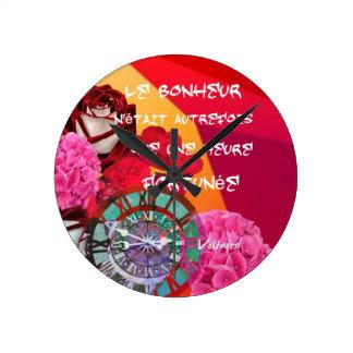 Flores, tempo e mensagem da felicidade relógios para paredes
