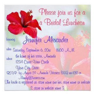 Flores tropicais bonito do almoço nupcial convite quadrado 13.35 x 13.35cm