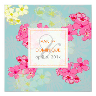 Flores tropicais coloridas folha Invitaitons Convites