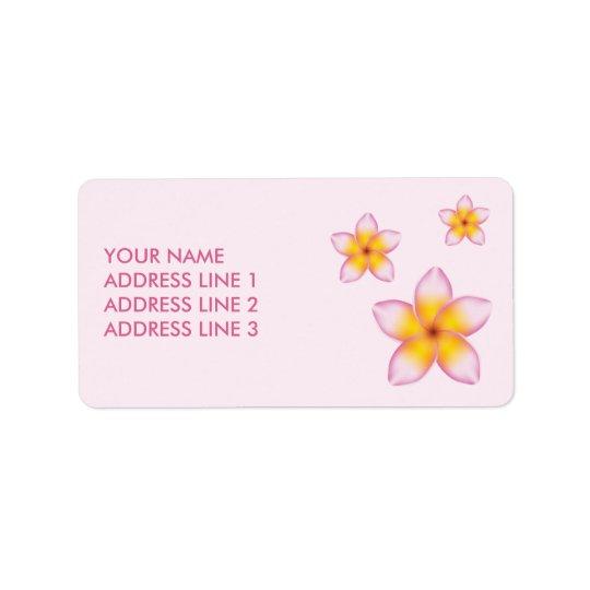 Flores tropicais cor-de-rosa do Plumeria e Etiqueta De Endereço