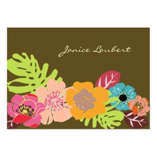 Flores tropicais corajosas retros, cor do fundo de cartão de visita grande