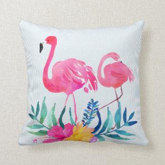 Flores tropicais do flamingo cor-de-rosa almofada