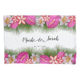 Flores tropicais e caligrafia das folhas de