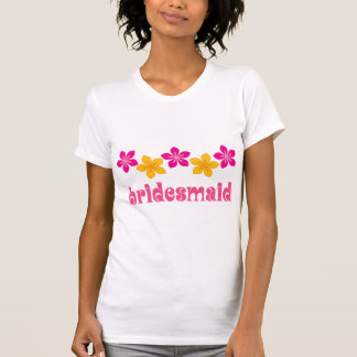Flores tropicais havaianas da dama de honra que t-shirt