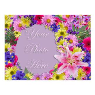 Flores tropicais moldura para retrato, casamento cartão postal