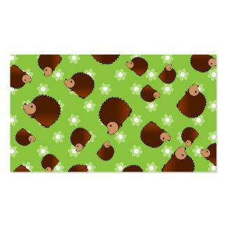 Flores verdes do ouriço cartão de visita