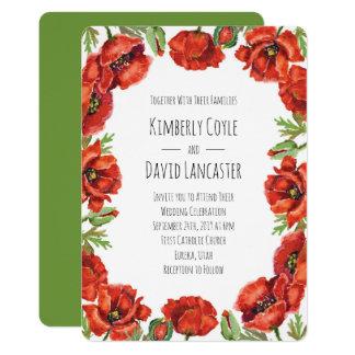 Flores vermelhas 2 da papoila da aguarela convite 12.7 x 17.78cm