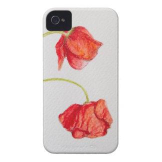 Flores vermelhas pintados mão das papoilas capinhas iPhone 4