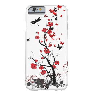 Flores vermelhas & pretas capa barely there para iPhone 6