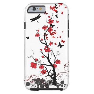 Flores vermelhas & pretas capa tough para iPhone 6