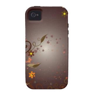 Flores & videiras de Brown Capa Para iPhone 4/4S