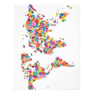 Floresce o mapa do mapa do mundo flyer 21.59 x 27.94cm