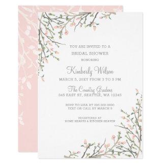 Florescer cora chá de panela Wedding floral Convite 12.7 X 17.78cm