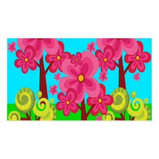 Floresta bonito do pirulito das árvores da flor do modelos cartao de visita