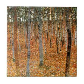 Floresta da faia por Gustavo Klimt Azulejo Quadrado Pequeno