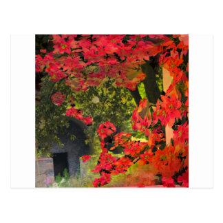 Floresta e flores vermelhas cartão postal