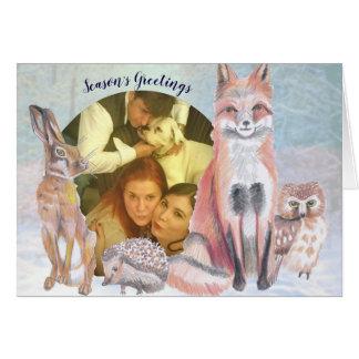 Floresta Scene do cartão de Natal dos cumprimentos