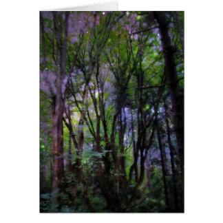 Floresta surreal das luzes feericamente cartões