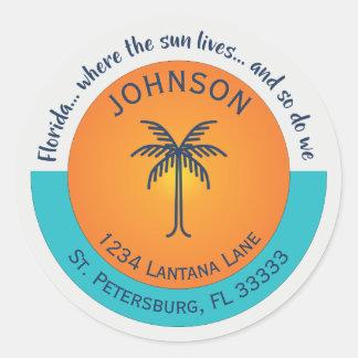 Florida… Onde o Sun vive endereço do remetente Adesivo Redondo