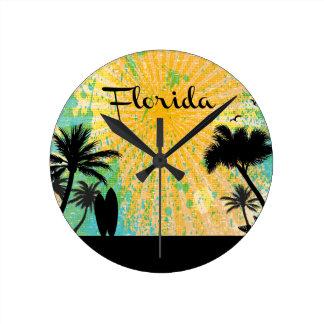 Florida, silhueta da praia relógio redondo