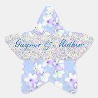 Florido delicado e laço adesivo em forma de estrela