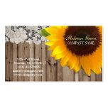 florista amarelo rústico do país do laço do girass cartões de visitas