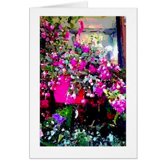Florista no cartão de nota do impressão da arte de