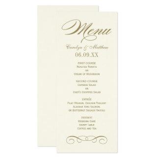 Flourish antigo do ouro do cartão | do menu do convite 10.16 x 23.49cm