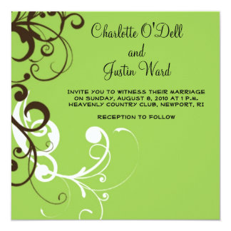 flourish; casamento verde convite quadrado 13.35 x 13.35cm
