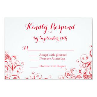 Flourish elegante vermelho e branco que Wedding Convites Personalizados