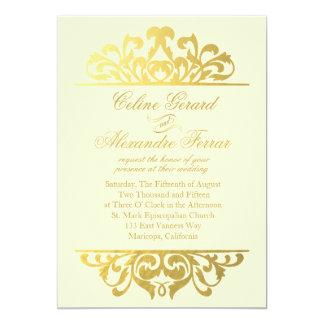 Flourish Glam da folha de ouro que Wedding o ouro Convite 12.7 X 17.78cm