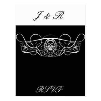 Flourish preto & branco que Wedding RSVP Cartão Postal