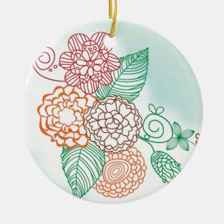 flower-line-drawings.jpg ornamento de cerâmica redondo