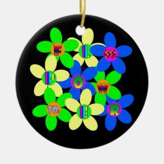 Flower power 60s-70s ornamento de cerâmica redondo