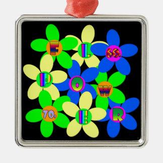 Flower power 60s-70s ornamento quadrado cor prata