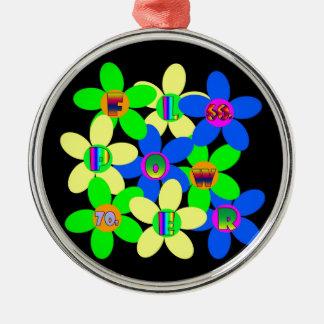 Flower power 60s-70s ornamento redondo cor prata